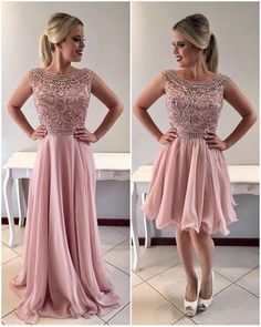 Pink Scoop Neck Crystals Beaded Prom Dress,A-Line Chiffon Homecoming Dresses on Luulla Short Beach Dresses, Formal Dresses For Women, Sexy Dresses, Beautiful Dresses, Casual Dresses, Woman Dresses, A Line Evening Dress, Evening Dresses, Beaded Prom Dress