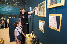 A staff member discusses Cézanne's work with an eager learner, 'Masterpieces from Paris' Family Activity Room Creative Activities, Family Activities, Activity Room, Gallery Wall, Paris, Space, Painting, Exhibitions, Museums