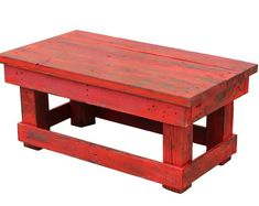 RED Reclaimed Coffee Table by DougAndCristyDesigns on Etsy White Rustic Coffee Table, Unfinished Coffee Table, Red Coffee Tables, Wood Crafts Furniture, Furniture Making, Living Room Furniture, Furniture Ideas, Palette Furniture, Handmade Table