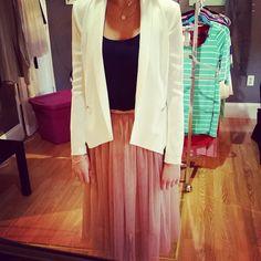 #worktoplay #fun #business #professional #out #tulle #midi #skirt #rose #ballet #navy #essential #tank #staple #white #mitto #blazer #lapels #elegant #classy #soleil #froufroucouture