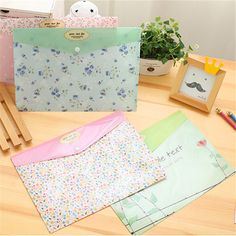 Korean stationery Small fresh flowers A4 file folder Cute tower document bag office school supplies canetas escolar 7.129