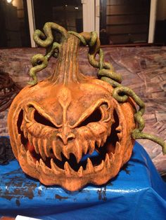 Kim polk papier-mâché pumpkin started with garbage bag