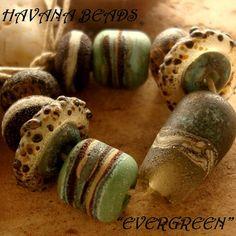 EVERGREEN - Fossilized Bead Set - Handmade Lampwork Beads - 9 Beads