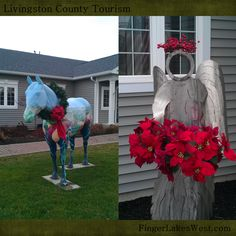 The Livingston County Area Chamber of Commerce's horse is decked in its finest wreath and the angel from Olie Olson's Metal Trades class is showing some seasonal spirit as well!