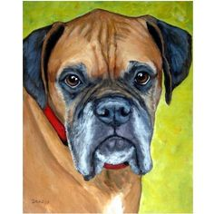 "Boxer Dog Art 8x10 or 11x14 Print of Original Painting by Dottie Dracos, ""Getting on in Years"""