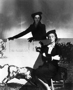 Horst P. Horst: Mrs. Stanley G. Mortimer (later Mrs. William Paley) & Mrs. Desmond Fitzgerald (later Mrs. Ronald Tree) modelling matador hats, 1940.