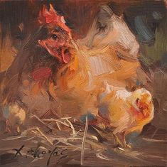 """Daily Paintworks - """"hen"""" - Original Fine Art for Sale - © Thomas Xie Rooster Painting, Rooster Art, Chicken Painting, Chicken Art, Clown Paintings, Animal Paintings, Watercolor Illustration, Watercolor Art, Art Thomas"""