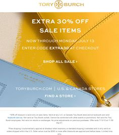 Pinned July 13th: Extra 30% off sale items today at #ToryBurch or online via promo code EXTRA30 #coupon via The #Coupons App