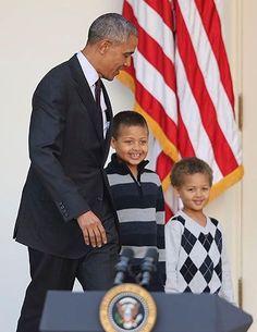 23 November 2016 - 44 President of the United States Barack Obama & his nephews, Austin & Aaron Robinson at today's 'Turkey Pardon' Ceremony ~ WhiteHouse