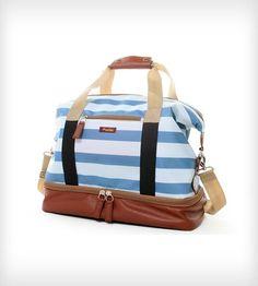 Midway Weekender Bag - Blue Sky Stripe $95