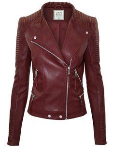 Cielo Women's Moto Faux Leather Jacket Burgundy JK1020