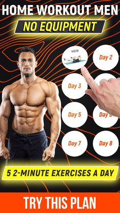 MadMuscles.com - personalized workouts for men. Take a quiz to pick a workout according to your goals and body parameters🔥 Training programs include exercises for arms, abs, core muscles. With or without equipment. Visit the site to start your body transformation! Workout Videos For Men, Home Workout Men, Gym Workouts For Men, Workout Plan For Men, Workout Routine For Men, Weight Training Workouts, Gym Workout For Beginners, Gym Workout Tips, Mens Fitness Workouts