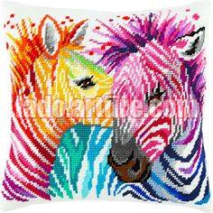 Zebras pillow cover cross stitch DIY embroidery kit needlework