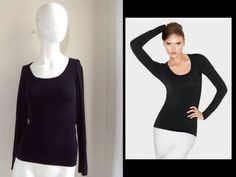 WOLFORD Atlanta Pullover Body Hugging Bodycon Black Long Sleeve T Shirt Top XS | eBay