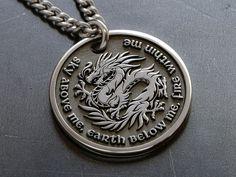 Dragon Necklace, Men Necklace, Fashion Necklace, Custom Engraved Necklace, Unique Necklaces, Custom Necklaces, Custom Jewelry, Dragon Pendant, Character Letters