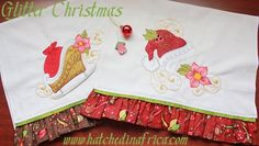 """Glitter Christmas"" designs using GlitterFlex in machine embroidery - HatchedInAfrica.com 