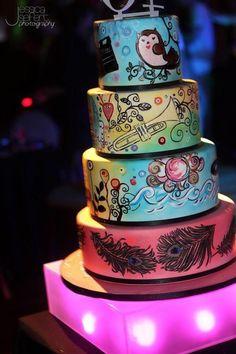 Painted Sweet Sixteen Cake