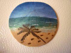 Palm Tree Shadow Seascape Sand Dollar Magnet / Ornament Hand Painted Miniature via Etsy
