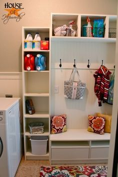 How to turn ikea furniture into a mudroom locker system.  Step-by-step tutorials (3 posts) to create your custom laundry or mudroom. #ikea #ikeahack #laundry #mudroom #beadboard