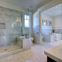 Who would like to have a luxury spa like this in your master bedroom?  Credit @surfaces_usa
