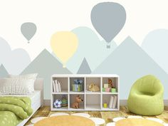 Hand Painted Cartoon Geometric Nursery Children Wallpaper Wall Mural Grey Geometric Mountain Hot-ai The post Hand Painted Cartoon Geometric Nursery Children Wallpaper Wall Mural Grey Geome appeared first on Children's Room. Clouds Nursery, Nursery Room, Kids Bedroom, Bedroom Decor, Baby Room, Nursery Decor, Nursery Grey, Lego Bedroom, Child Room