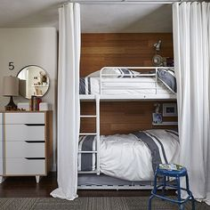 Bunk beds     Great for a twins bedroom    This is the bunk bed M     IKEA bunkbeds w  trundle bed   curtains for privacy   added warmth