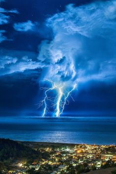 Lightning Strike over the Pacific.