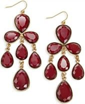 INC International Concepts Gold-Tone Red Chandelier Earrings, Only at Macy's