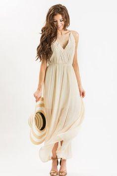 Addie Beige Crochet Front Maxi Dress