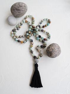 Amazonite Mala Beads Tassel Necklace, Gemstones, Beads, Handmade, Jewelry, Beading, Hand Made, Jewlery, Bijoux