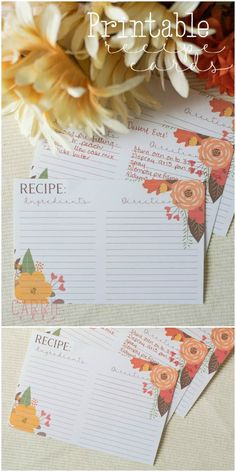 French Delicacies Essentials - Some Uncomplicated Strategies For Newbies Free Printable Recipe Cards Printable Recipe Cards, Printable Planner, Printable Wall Art, Wedding Planner Binder, Best Wedding Planner, Free Thanksgiving Printables, Free Printables, Crafts, Binder Templates