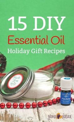 15 DIY Essential Oil Recipes - These are great for gifts or for yourself. From body scrub to shaving goodies for the men in your life. http://www.mamanatural.com/diy-essential-oil-recipes/
