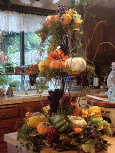 Beautiful Fall centerpiece with moss, twigs, fall vegetables & flowers with votives to light during the evening! Fall Home Decor, Holiday Decor, Fall Arrangements, Autumn Decorating, Decorating Tips, Deco Floral, Fall Table, Fall Harvest, Harvest Time