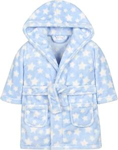 Ages 6-24 Months BABYTOWN Toddler Baby Girls Star Print Night Robe Hooded Fleece Gown In Pink /& Cream
