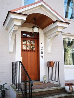 Portico - traditional - entry - dc metro - Robert Nehrebecky AIA, Re:New Architecture Front Door Overhang, Front Door Porch, Front Porch Design, Garage Door Design, Side Porch, Front Stoop, Front Entry, Garage Doors, Cottage Style Front Doors