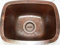 Rectangular Hand Hammered Copper Bar Prep Sink With Drainhole