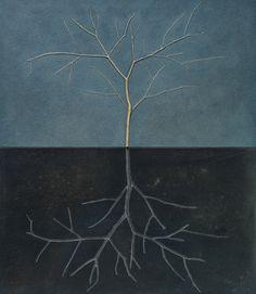 """""""la metà oscura"""" tecnica mista/legno su tavola 2013"""