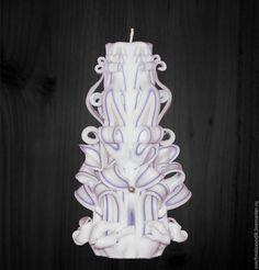 """Купить Резная свеча """"Теза"""" - парафиновая свеча, бело-синяя свеча, резная свеча"""
