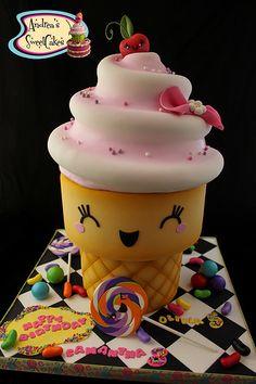 Kawaii inspired jumbo ice cream cone Cake Art