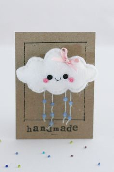 Cloud Felt Brooch  Badge / Pin  White with by hannahdoodle on Etsy