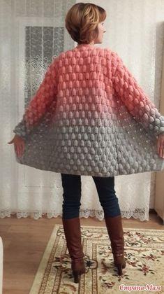 Strawberry Knitting Model Making, # Himbeersensorikmuster # Bubblegummodel - [board_name] - Guten Morgen Crochet Coat, Crochet Cardigan Pattern, Knitted Coat, Crochet Jacket, Cotton Crochet, Crochet Clothes, Clothing Patterns, Knitting Patterns, Crochet Patterns