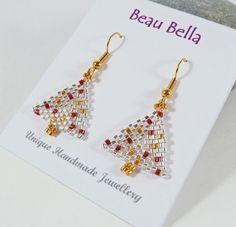 Christmas Tree Earrings Silver & Gold by BeauBellaJewellery