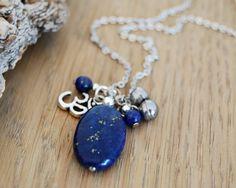 lapis lazuli om yoga necklace - yoga jewelry - third eye chakra necklace on Etsy, $42.19 AUD