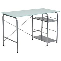 Molly Silver Glass Office Desk with Open Storage
