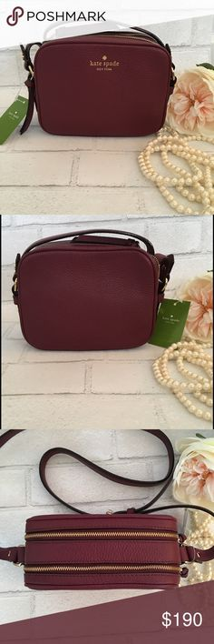 """Kate Spade Double Zipper Crossbody Handbag Wine. Kate Spade Cobble Hill Double Zipper Crossbody Handbag in Wine.  Size: 7.5""""W x 6""""H x 3.5""""D. Drop 21.5""""-23"""" Material: Safiano Leather Pebble Finish 14k Gold Plated Hardware  Features: Double Zipper with tons of room. One interior Slot.  Price is Firm Unless Bundled. 2 items 10% Off 3 Items 15% Off. kate spade Bags Crossbody Bags"""