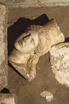 Amphipolis, Macedonia Greece: The head of the East Sphinx, moments after discovery.- The head is high with some facial damage. Greek History, Roman History, Ancient History, Ancient Greek Art, Ancient Romans, Ancient Greece, Macedonia Greece, Greece Pictures, Minoan