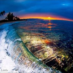 Fisheye lens view of a Hawaiian sunset from the ocean. Waves Photography, Amazing Photography, Clark Little Photography, Hawaiian Sunset, To Infinity And Beyond, Sunset Photos, Ocean Waves, Beach Waves, Beautiful Beaches