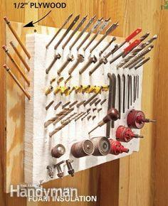 Shop Tool Storage Ideas | Glue rigid foam insulation to a plywood base