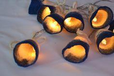 White and Blue Felted Garland Design Light String by UrsulaShop, €49.00