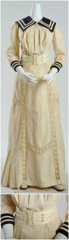Two-piece tennis dress for ladies, around 1903. Collection of Wien Museum (photos: Christa Losta), via Google Cultural Institute and Europeana Fashion Tumblr. Two-piece Dresses, dress, clothe, women's fashion, outfit inspiration, pretty clothes, shoes, bags and accessories